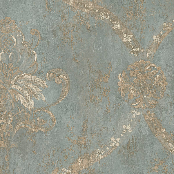 Regal Damask Metallic Gold, Turquoise - CH28248