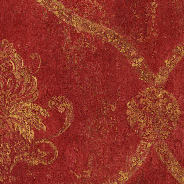 Regal Damask Red, Tan, Ochre, Terra Cotta - CS27328