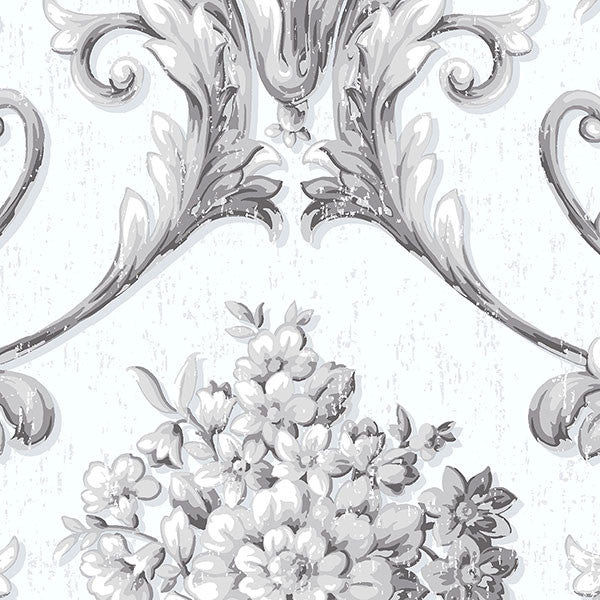 Floral Damask Opaque White, Silver - CS35626