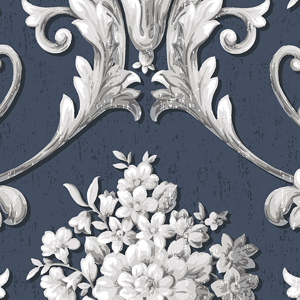Floral Damask Navy, Silver - CS35627