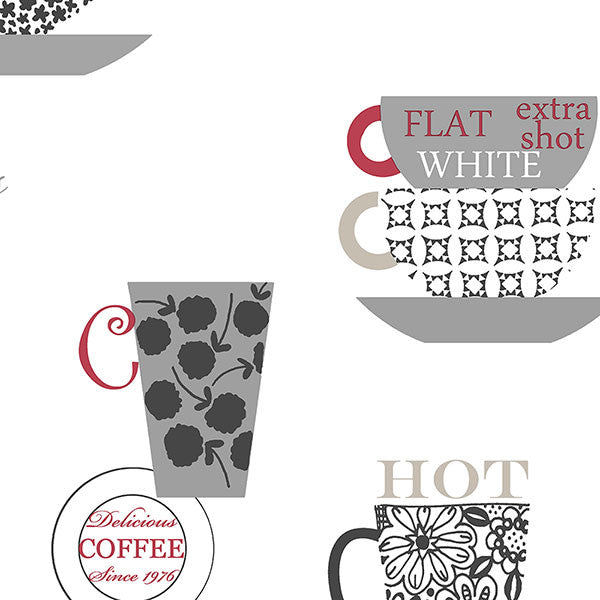 Coffee Time Red, Silver, Taupe - FK34427