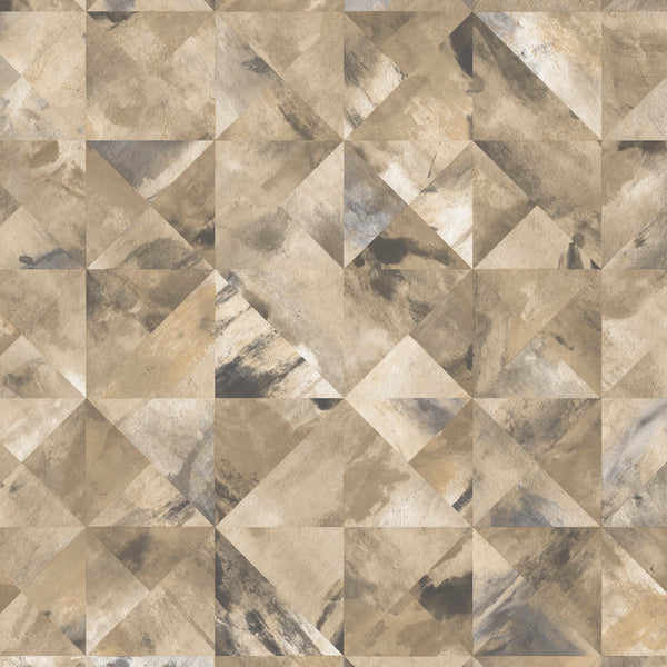 Mosaic Wallpaper in shades of Ochre, Brown & Grays - FW36821