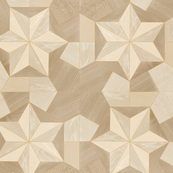 Inlay Wood Wallpaper in shades of Gold & Ochre - G67987