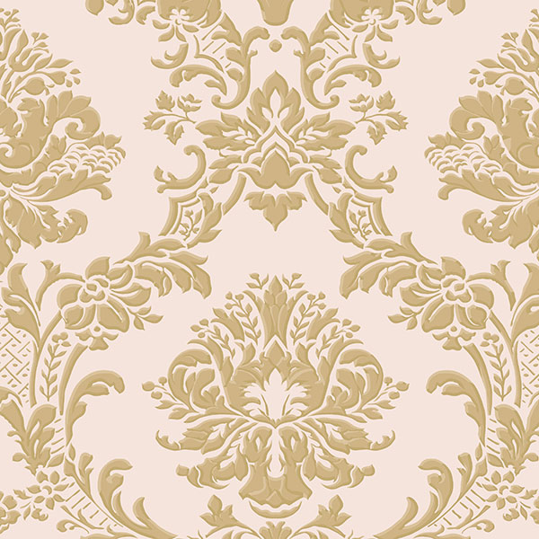 Classic Damask Metallic Gold, Pink - IM36406