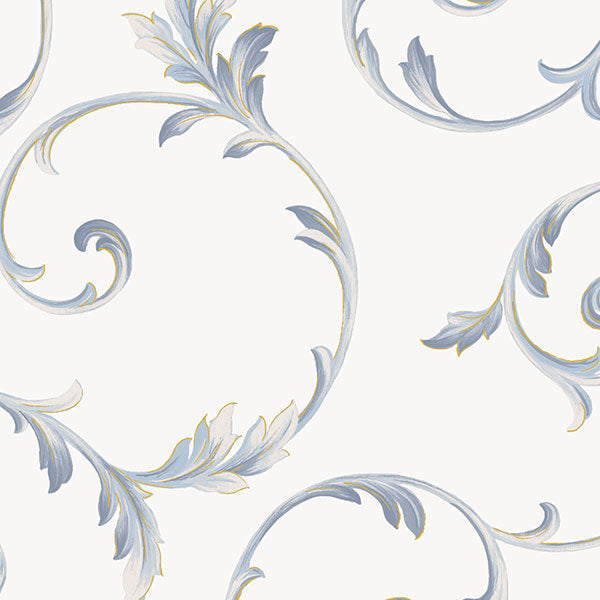 Scroll White, Navy, Metallic Gold - IM36415
