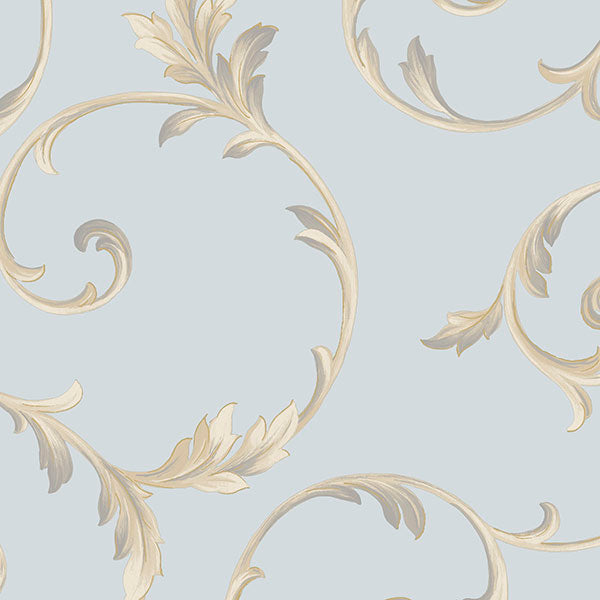 Scroll Blue, Metallic Gold, Beige, Purple - IM36418