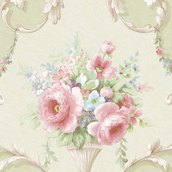 Ornamental Floral Green, Pink, Blue - IM36421