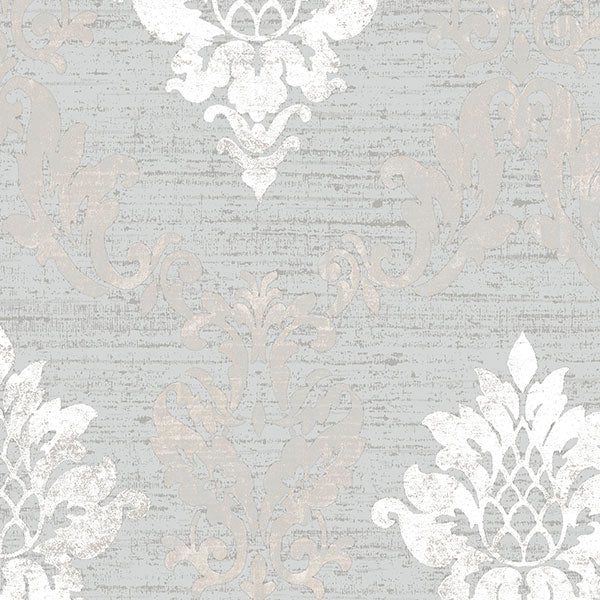 Silk Damask Metallic Silver, Grey - IM36426