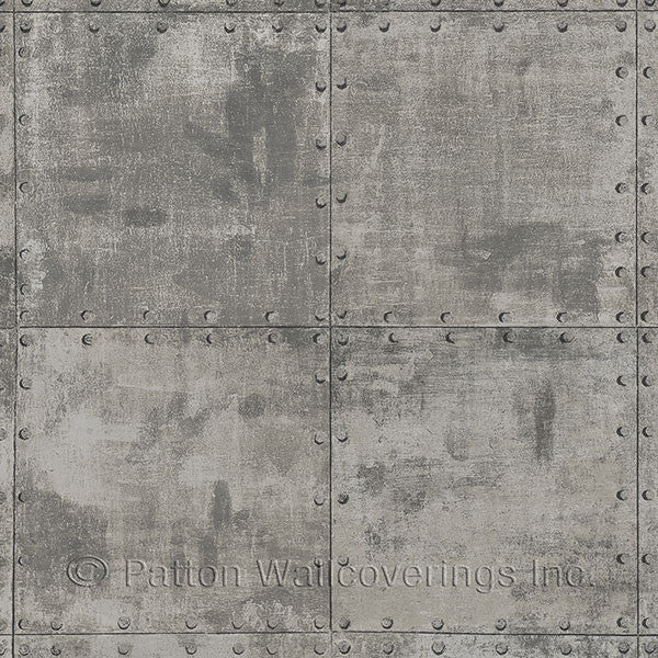 Metallic Silver, Brown, Black Steel Tile Design - LL36224