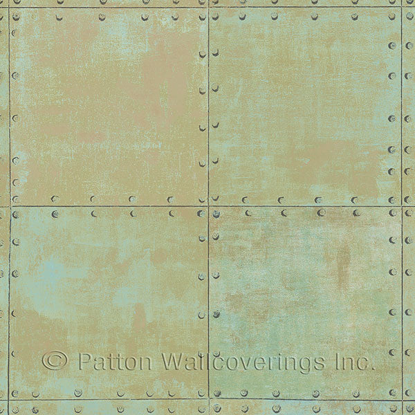 Aqua, Green, Metallic Copper Steel Tile Design - LL36225