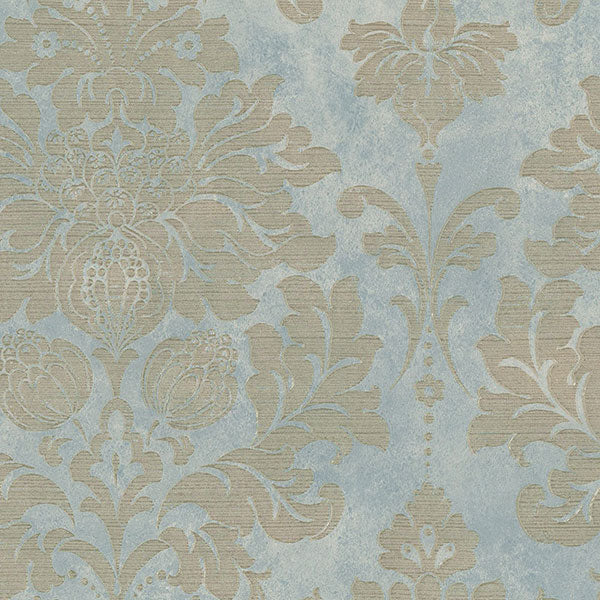 Damask Blue, Beige, Metallic Gold - MD29418