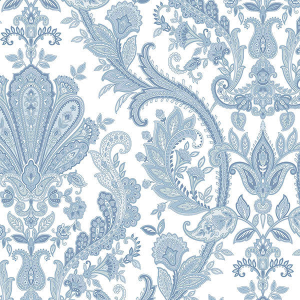 Jacobean Paisley Dark Blue, Light Blue, Pearl, White - MD29431