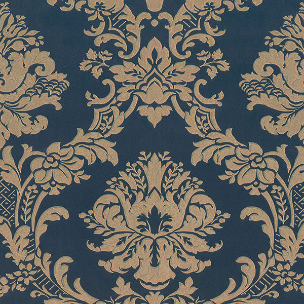Classic Damask Navy, Blue, Metallic Gold - MD29470