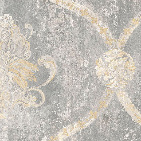 Regal Damask Grey, Beige - MH36506