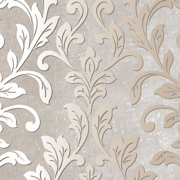 Silver Leaf Damask Grey, Taupe - TX34844