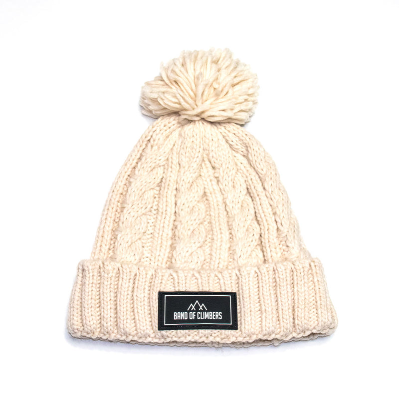 Cable Knit Bobble Hat - Off White