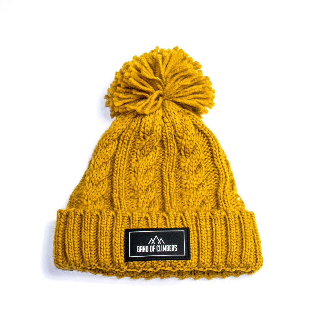 Cable Knit Bobble Hat - Mustard