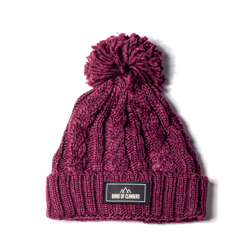 Cable Knit Bobble Hat - Burgundy
