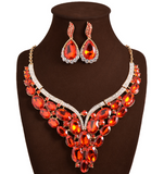 Beryl-Rhinestone chunky crystal statement necklace and earring set