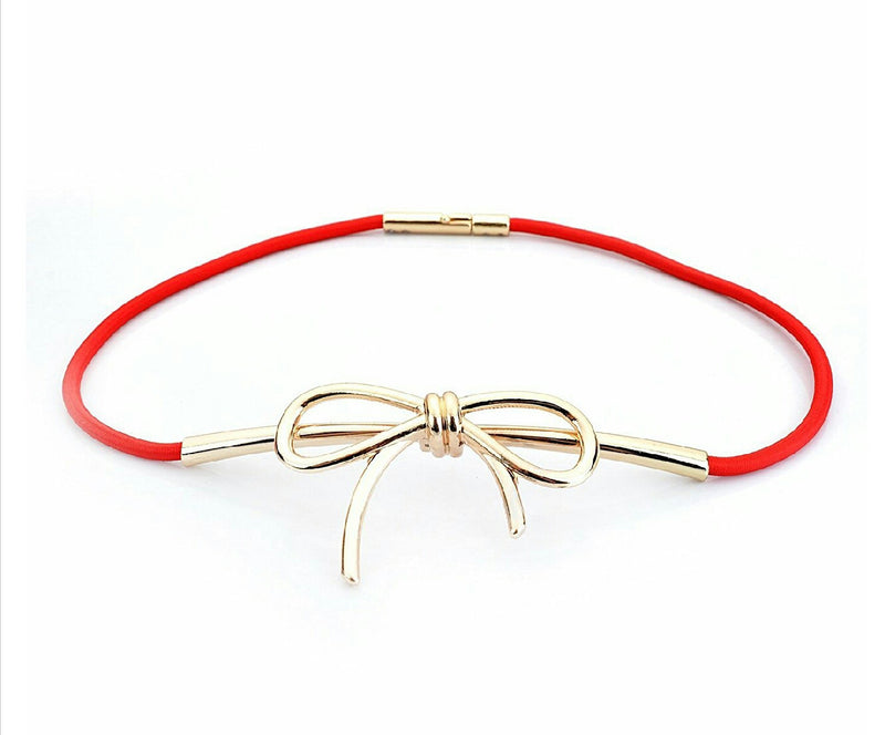 Bow metal Strechable Waist Belt (Red, Hot Pink, Blue, Black, Gold, Beige/Tan)