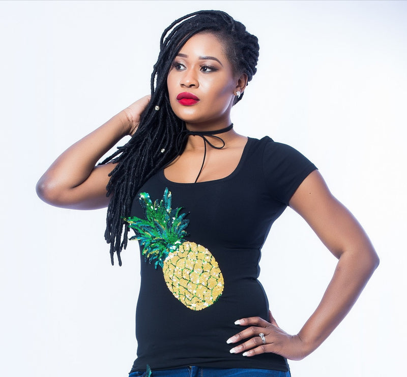 Sequin T-Shirts (Red Rose Flower/Yellow Pineapple)