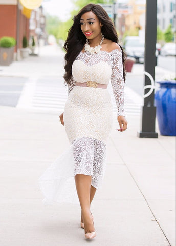 Candace- Lace Hi-Lo Off-Shoulder dress