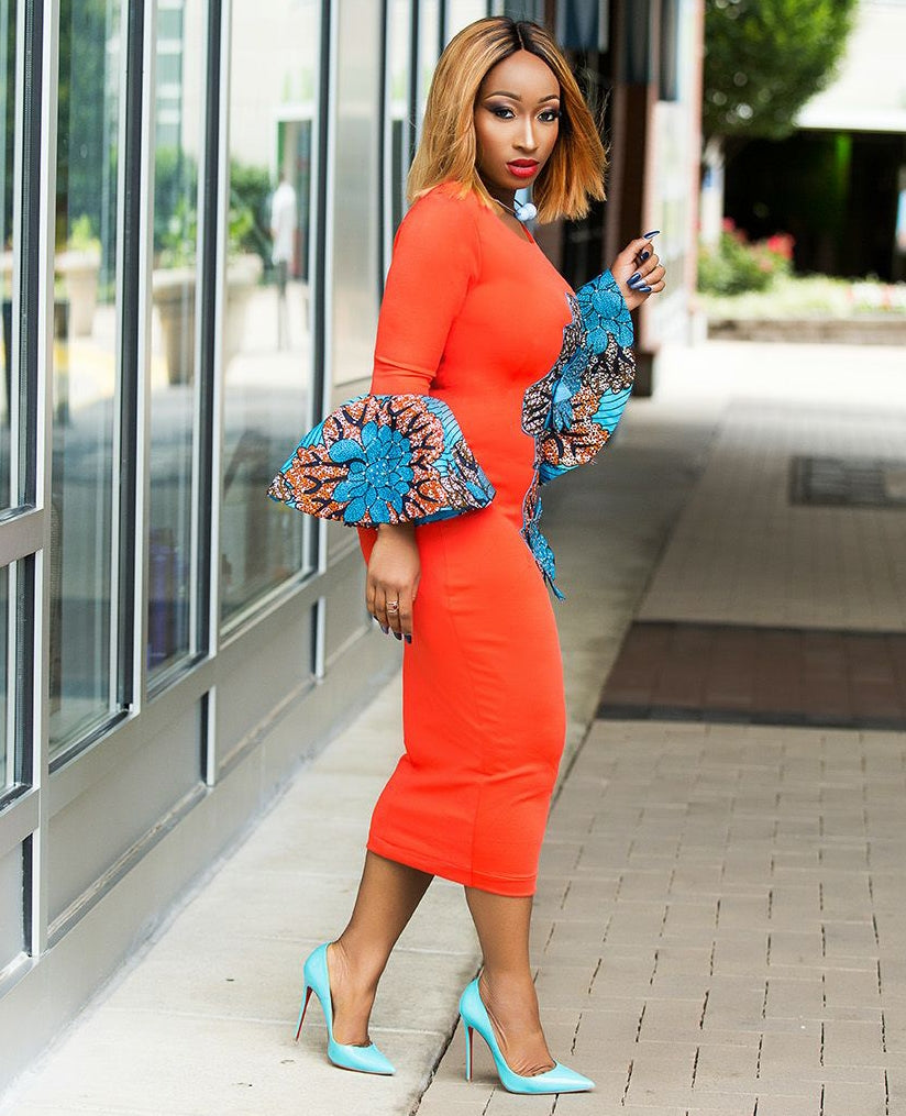 Ara- Fitted Stoned Ankara Patch Midi dress