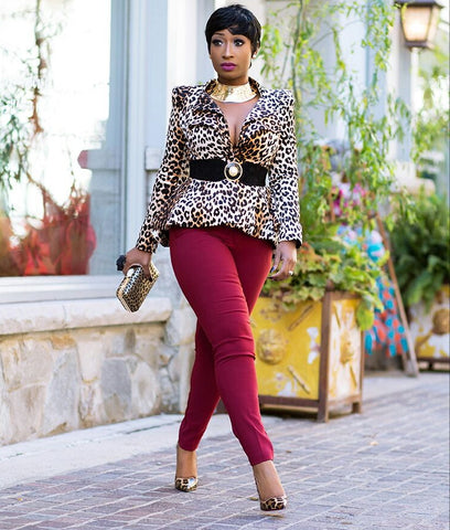 Suede Leopard Long Sleeve Shrug/Power Shoulder Blazer/Jacket