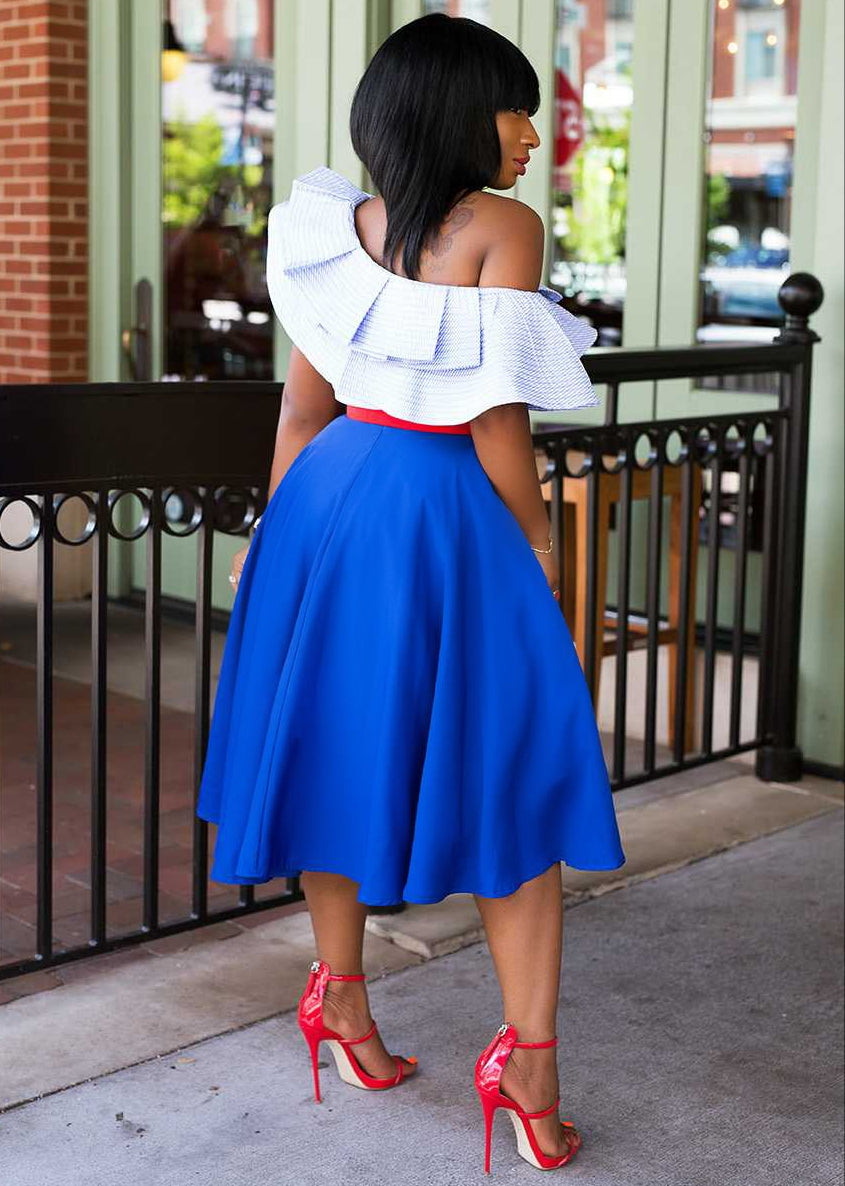 Bessy- SLEEVELESS Big Ruffle Off-Shoulder blouse (Final Sale! No Returns! No Exchange!)
