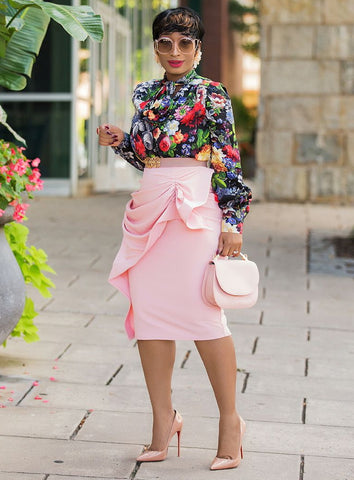 Belle- Ruffle Statement Midi Skirt