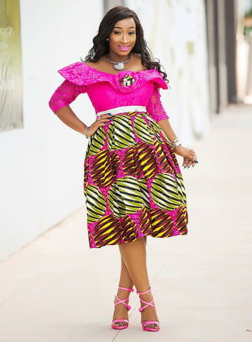 Wunmi- Beautiful Lace/Stoned-Ankara Dress