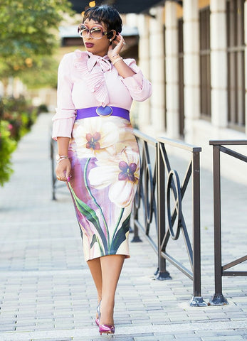 Lydia- 2pc Ruffle Tie Neck blouse and multicolored Midi Skirt set
