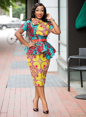 Bethany- 2pc Big Bow Asymmetrical Peplum Stoned Ankara set