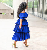 Indigo Exquisite- Layer Ruffle Off Shoulder Dress
