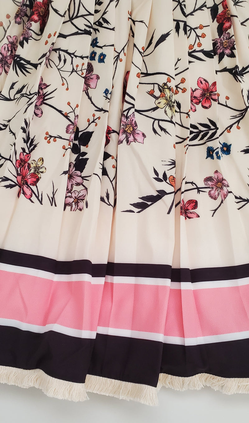 Blissful Bloom- 2pcs Blouse and Long Pleated Skirt SET (NEW)