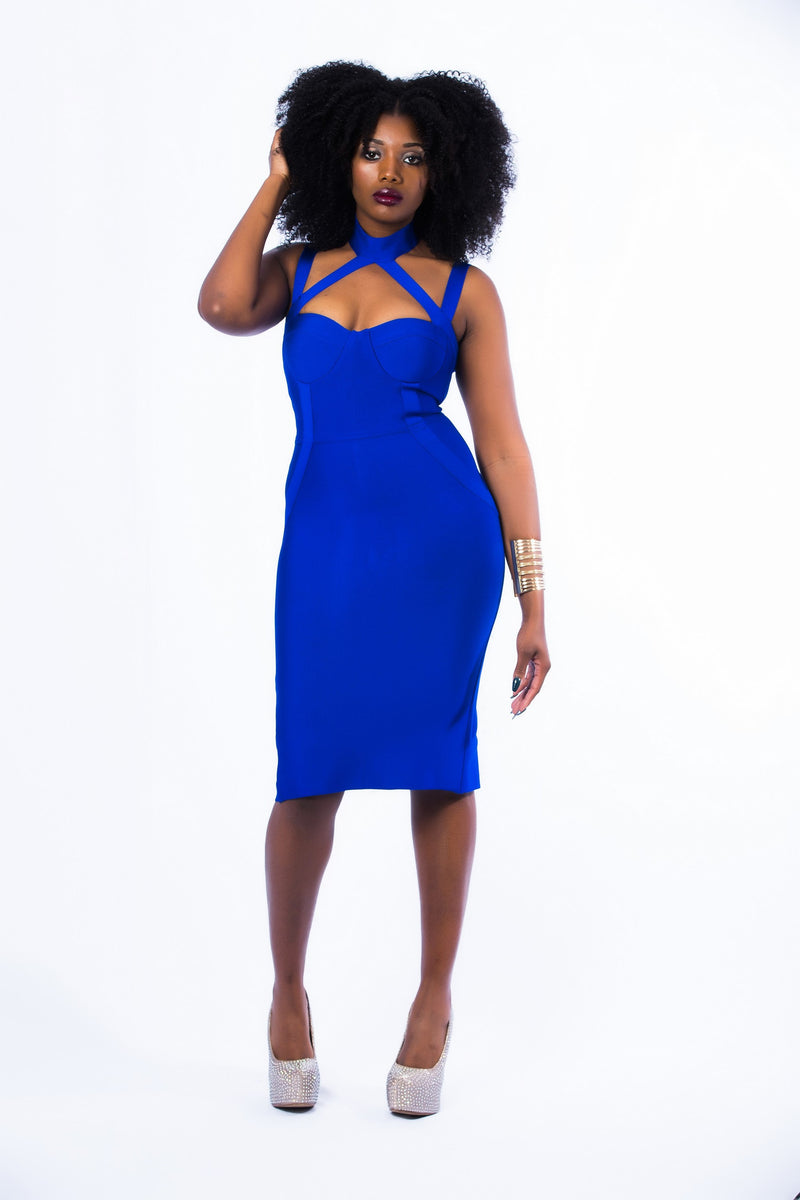 Cross Strap Bodycon Bandage Midi dress (FINAL SALE. NO RETURNS. NO EXCHANGES)