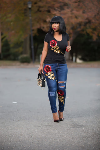 Sequin Ripped Skinny Jeans and T-shirt set