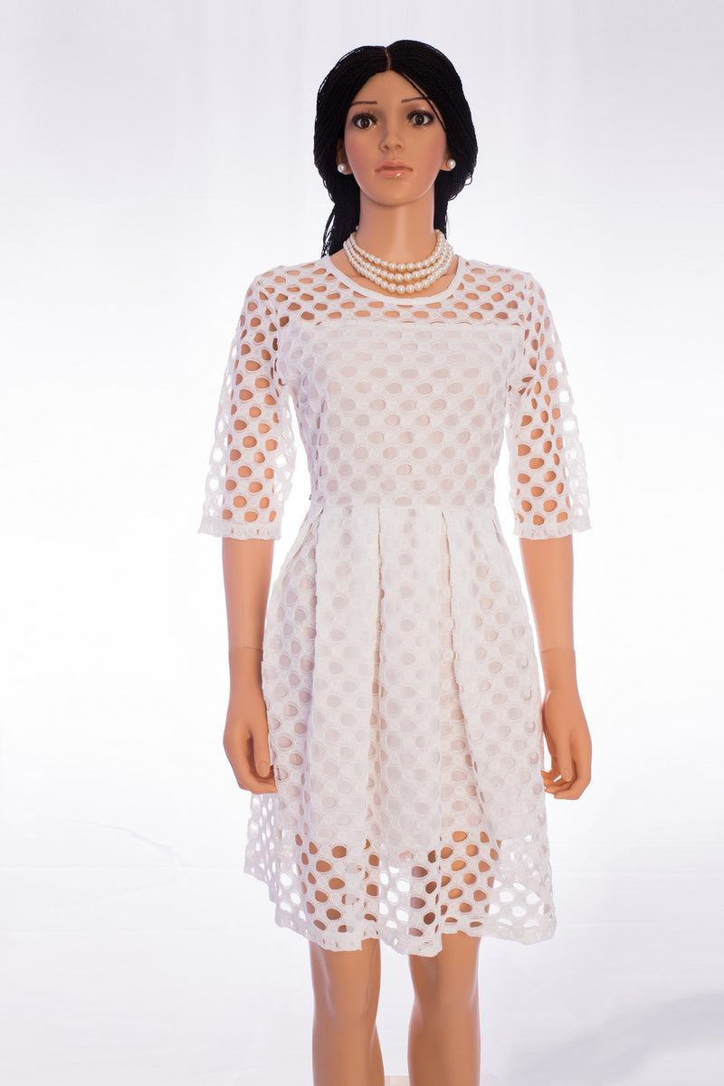 Hollow-out lace fit-and-flare knee length/above the knee party dress