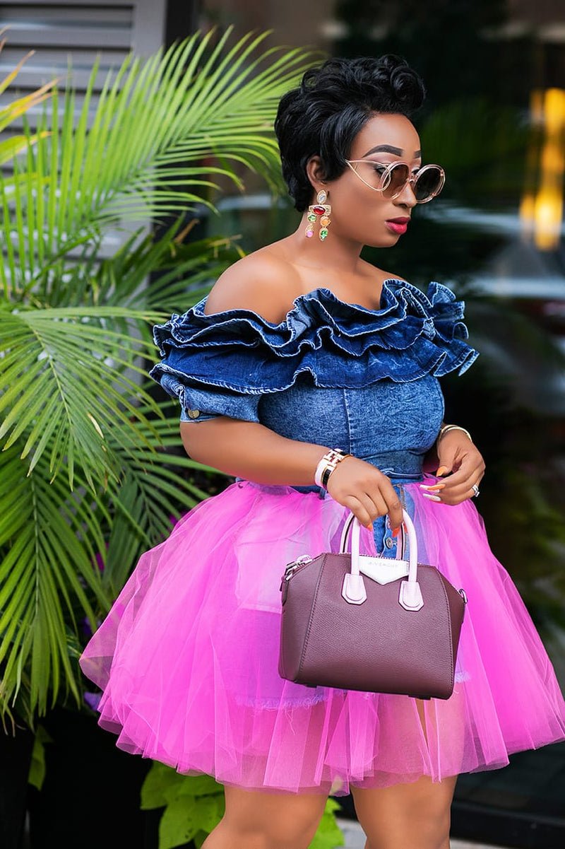 Denim Extravaganza- Big Ruffle Off Shoulder blouse (New)