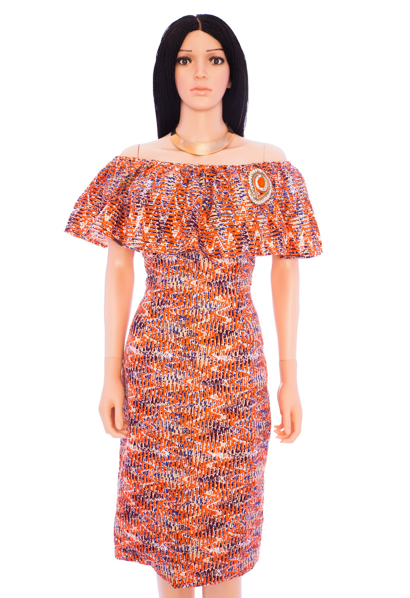 Remie- Off shoulder colorful orange dress