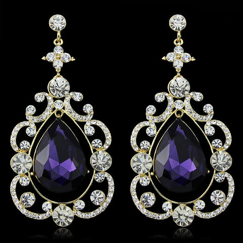 Amethysta- Crystal tear-drop gemstone long statement earring
