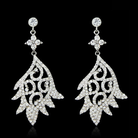 Bianc- Crystal tear-drop clear gemstone long statement earring