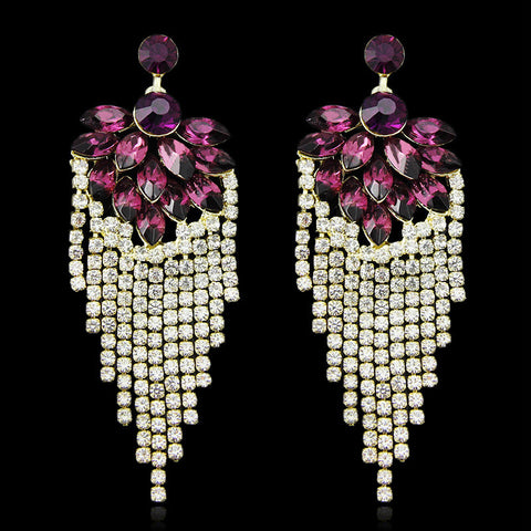 Chandelle- Crystal teardrop chandelier-like gemstone long statement earring