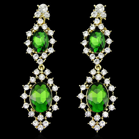 Emeraldah- Crystal tear-drop gemstone long statement earring