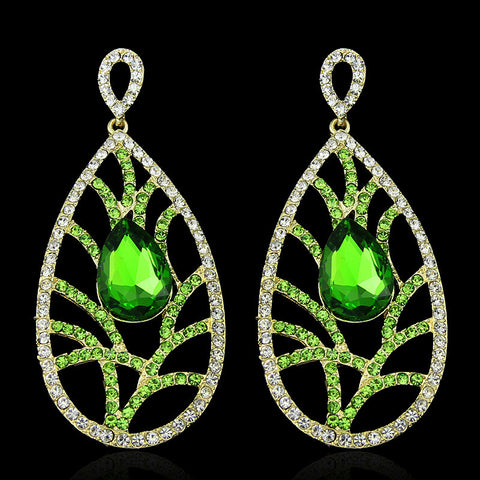 Emeraldera- Crystal tear-drop gemstone long statement earring
