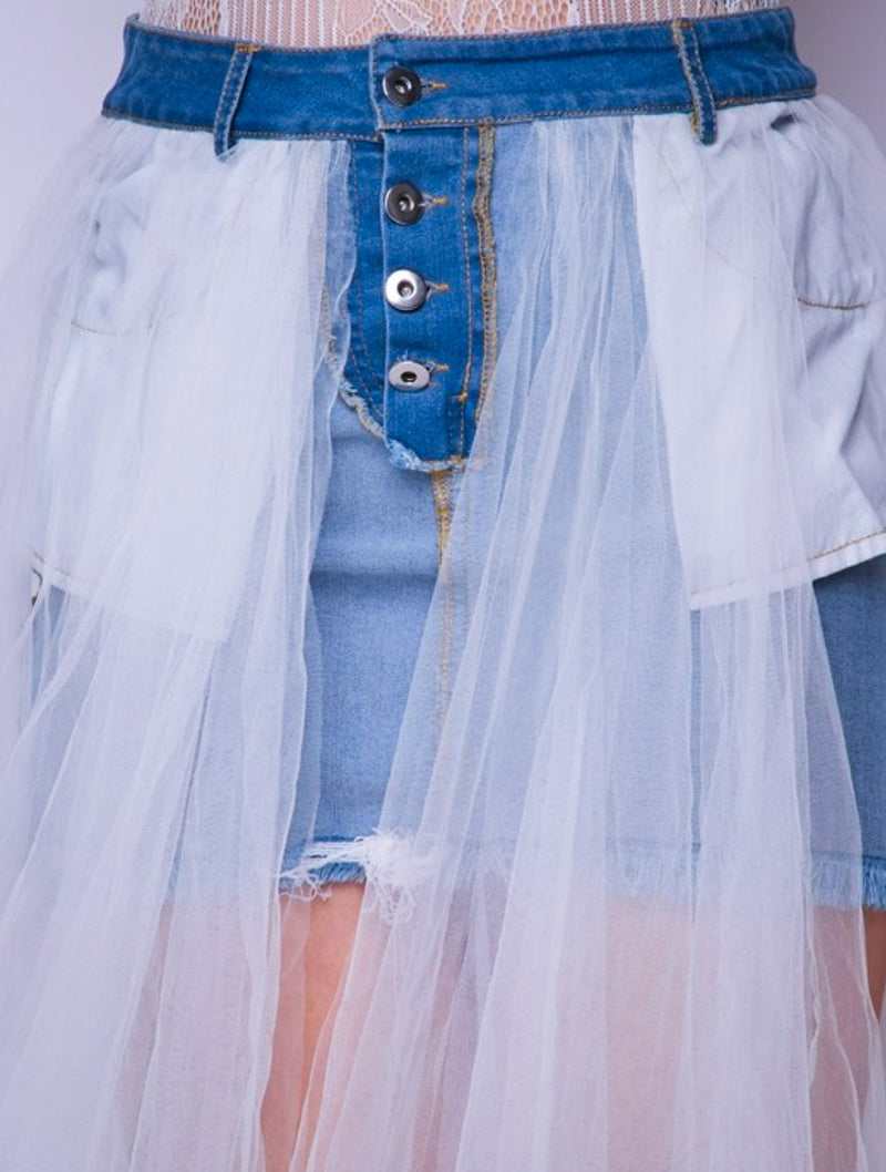 Tonia Denim Layer Tulle Floor Length Skirt (New)