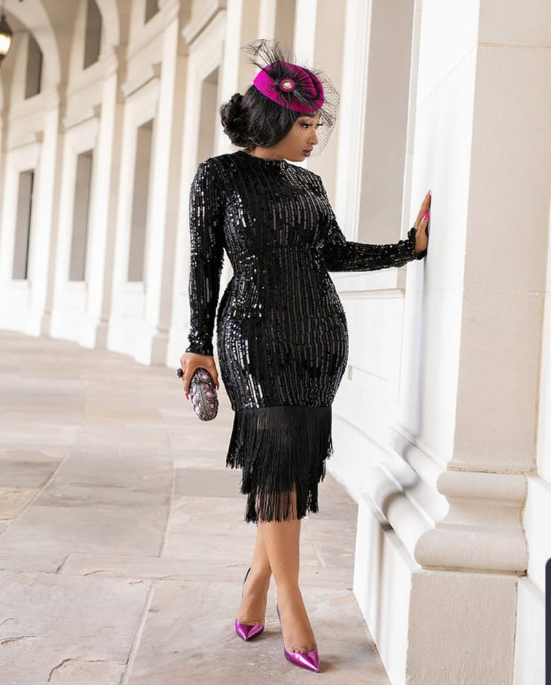 Joanne- Velvet/Sequin Fringe Dress