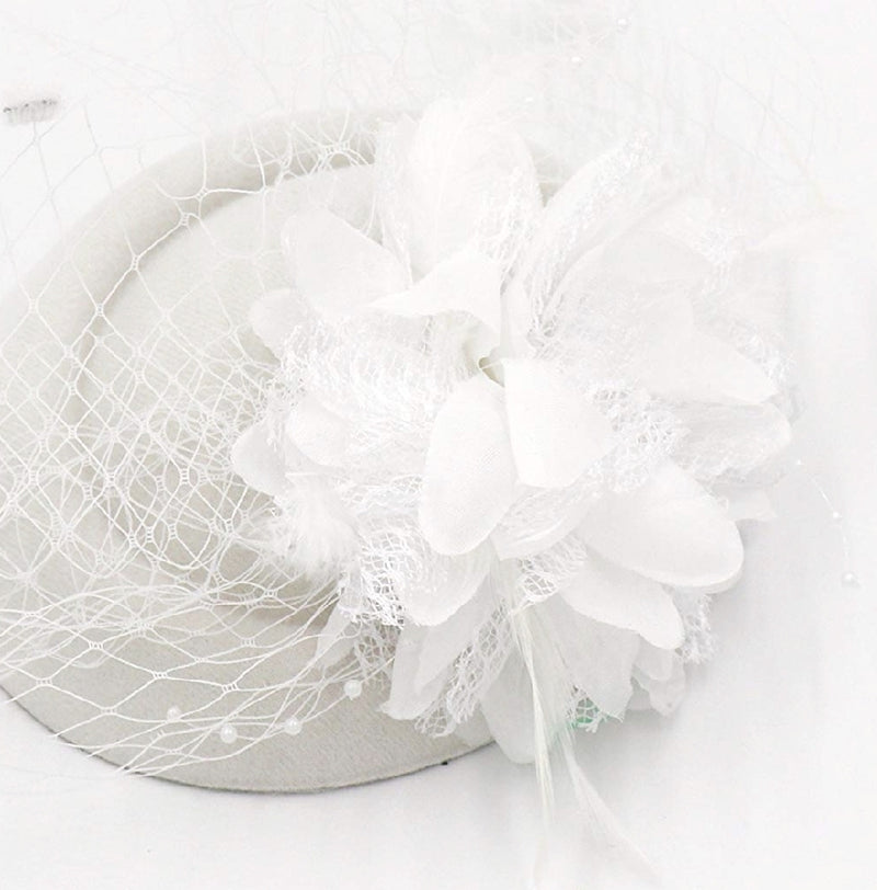 Flower/Feather/Mesh Veil Headband/Fascinator (New)