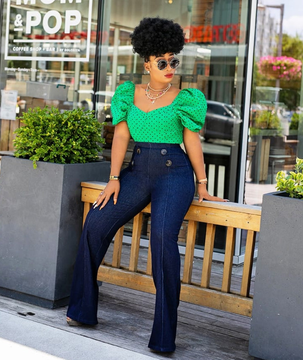 Anetta- Button Denim High Waist Pants (New)