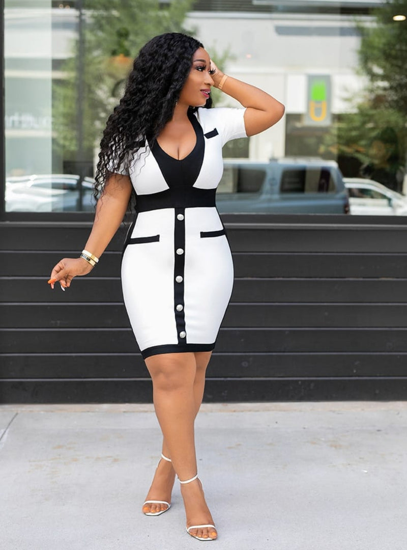 Janelle- Color Block Bandage Dress (New)